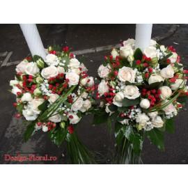 Lumanari nunta glob minirose si Hypericum