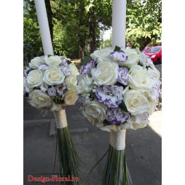 Lumanari nunta sferice din trandafiri si Lisianthus
