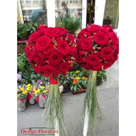 Lumanari nunta glob trandafiri si Hypericum