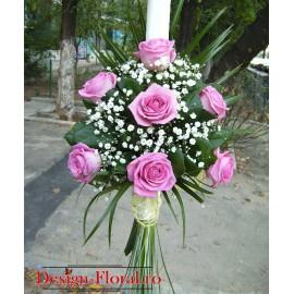 Lumanare botez clasica din trandafiri