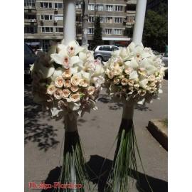 Lumanari nunta glob orhidee Cymbidium si minirose
