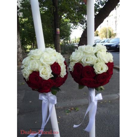 Lumanari de nunta glob trandafiri rosii