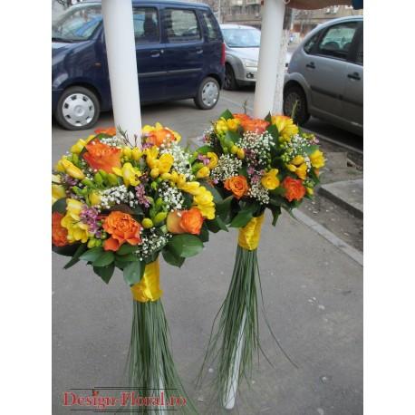 Lumanari nunta trandafiri si wax flower