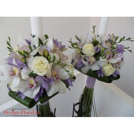 Lumanari nunta trandafiri, orhidee si frezii