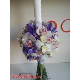 Lumanare botez orhidee si iris