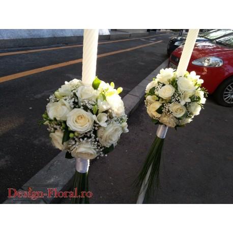 Lumanari de nunta glob trandafiri si frezii