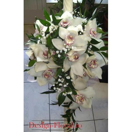 Lumanare de botez din orhidee Cymbidium