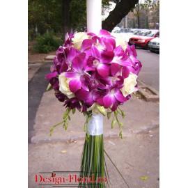 Lumanare botez glob orhidee Dendrobium si trandafiri