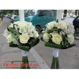 Lumanari nunta Alstroemeria si trandafiri