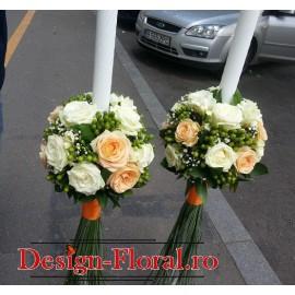 Lumanari nunta Hypericum si trandafiri
