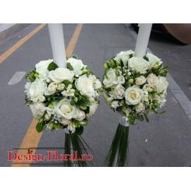 Lumanari nunta trandafiri si minirose