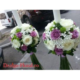 Lumanari nunta Bouvardia si trandafiri