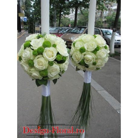 Lumanari nunta glob trandafiri albi
