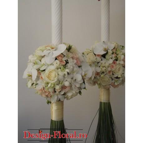 Lumanari nunta glob minirose, frezii si orhidee