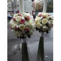 Lumanari de nunta glob trandafiri si orhidee