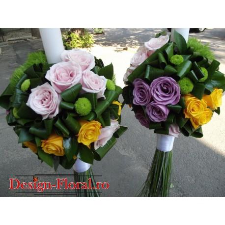 Lumanari nunta trandafiri colorati