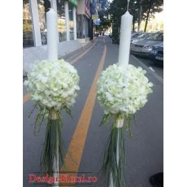 Lumanari nunta glob orhidee si trandafiri albi