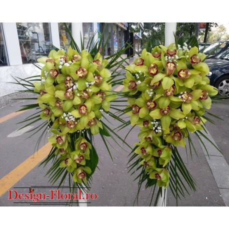Lumanari nunta orhidee imperiala verde