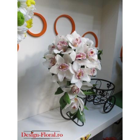 Buchet mireasa curgator orhidee