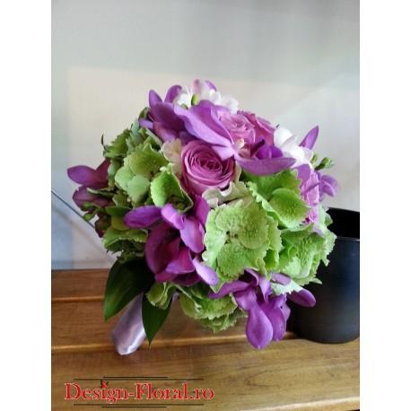 Buchet mireasa orhidee, trandafiri si Hortensii
