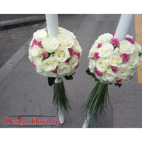 Lumanari nunta glob din trandafiri