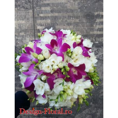 Buchet mireasa frezii si orhidee