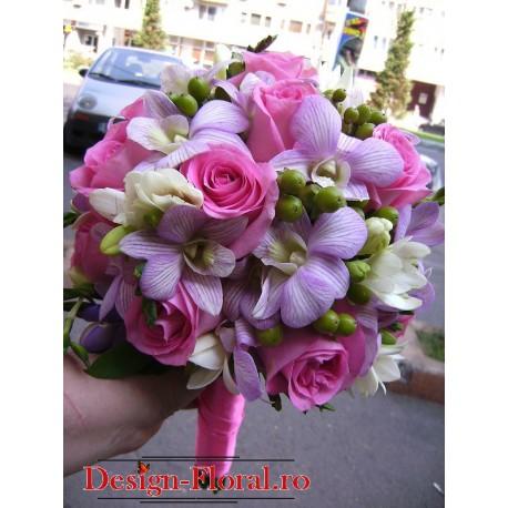 Buchet mireasa orhidee si trandafirir