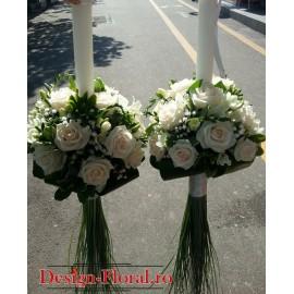 Lumanari nunta sferice trandafiri si frezii