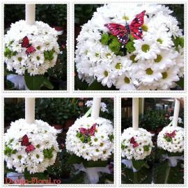 Lumanari nunta crizanteme si santini