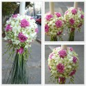 Lumanari nunta glob orhidee si trandafiri Aqua