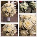 Lumanari de nunta glob trandafiri albi